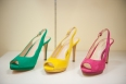 Suede open toe sling back pumps available in jewel tones.